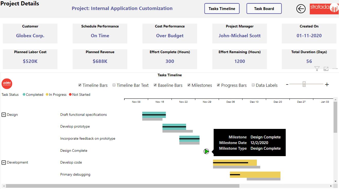 Stratada – Microsoft Project Operations – Project Details (Stratada Timeline)